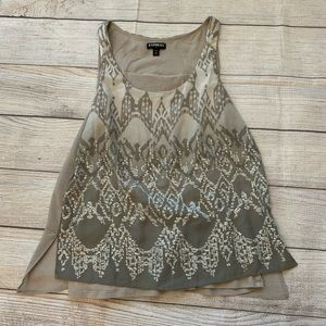XS EXPRESS Gray & Silver Sequins Tank Top